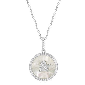 """925 Sterling Silver Medal Clear CZ Guardian Angel Necklace for Baby or Kids 16"""""""