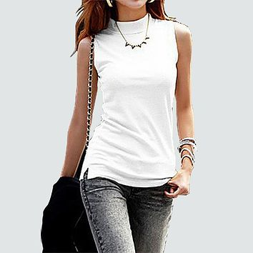 women fashion solid sleeveless T-shirt women autumn Tops Tees cotton turtleneck t shirt women 10 colors