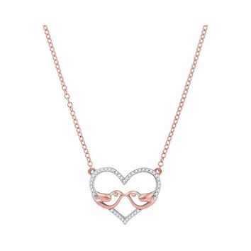 10kt Rose Gold Womens Round Diamond Heart Love Pendant Necklace 1/8 Cttw