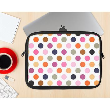 The Solid Pink & Blue Colored Polka Dots Ink-Fuzed NeoPrene MacBook Laptop Sleeve