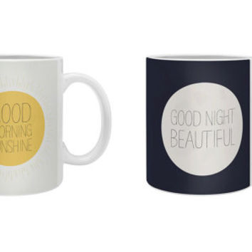 Good Morning Sunshine & Good Night Beautiful Mug Set / cute / couple's mugs / his and hers mugs / for her / for him / yellow / sweet