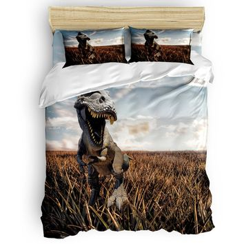 Bedding Sets Bedding Dinosaur Duvet Cover Set Skull Illustration With Text Rawr In A Bubble Big Jaw Sopping Head 4 Piece Bedding Set Lime Modern And Elegant In Fashion
