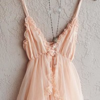 Weddbok - Romantic Paris Boudoir Peach Babydoll Lingerie With Tulle Ruffle Slip And Ribbon Rosette Detail Saved For Goddess