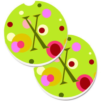 Letter X Monogram - Lime Green Set of 2 Cup Holder Car Coasters CJ1010-XCARC