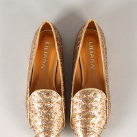 Liliana Kelsey-1 Glitter Studded Spike Loafer Flat