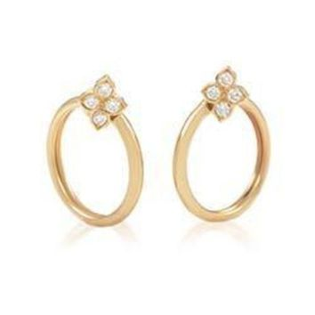 Cartier Yellow Gold Diamond Flower Clip On Hoop Earrings