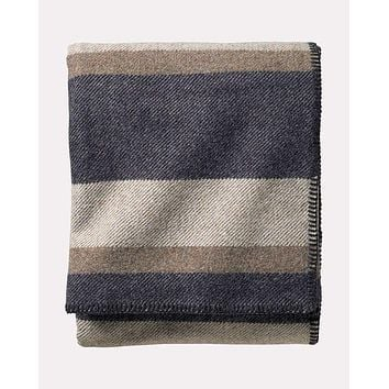 Pendleton - Eco-Wise Wool Solid Midnight Navy Stripe Queen Blanket