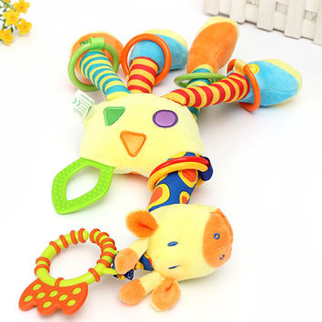 Baby Gift Quality Unisex Toys Cute Kids Soft Giraffe Plush Baby Animal Model Handbells Rattle Handle Developmental Stuffed