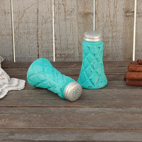 Salt and Pepper, Shaker Set, Tiffany Blue, Quilted, Pressed Glass, Upcycled, Shabby Chic, Hand Painted