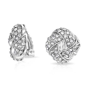 Braided Crystal Love Knot Clip On Earring For Women Non Pierced Ears