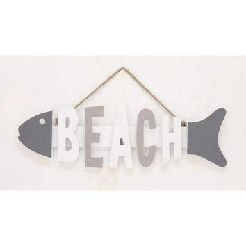 Decorous Wood Fish Beach Sign