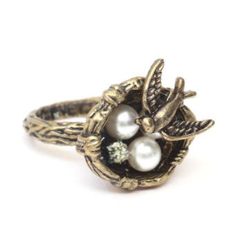 Sparrow Bird Nest Ring Size 4.5 Gold Tone Wildlife Animal RE30 Cocktail Fashion Jewelry
