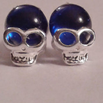 Miniature Royal Blue and Silver Skull  Earrings