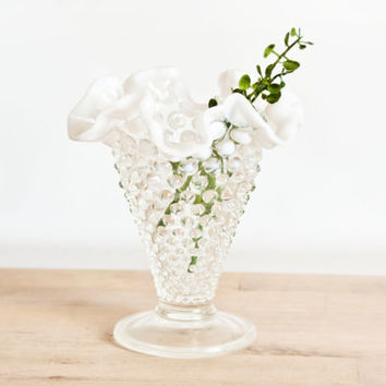 Vintage Fenton French Opalescent Hobnail Bud Vase, Crimped Edge Moonstone Vase, Wedding Table Decor
