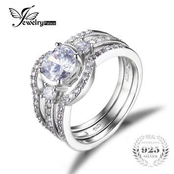 JewelryPalace 3 Stones 1.5ct 3 Pcs Anniversary Wedding Band Engagement Ring Bridal Sets 925 Sterling Silver Jewelry SOn Sale