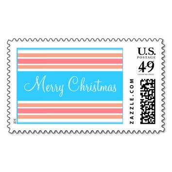 Christmas Orange Blue Stripes Stamps