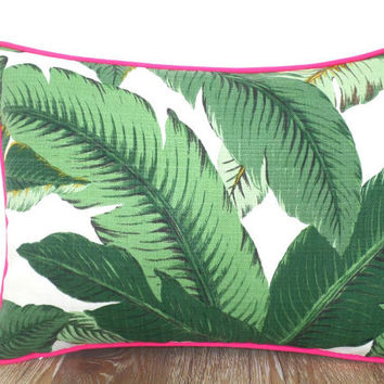 Tropical leaf pillow cover 16x12, small bench cushion tropical banana leaf, swaying palm lumbar pillow contrast pink piping, beach decor