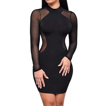 Sexy Women Dress See Through Mesh Bandage Bodycon Long Sleeve Women Clothes Evening Sexy Party Clubwear Sexy Mini Skinny Dress