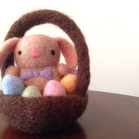 Needle Felted Bunny in Basket with Eggs - Easter gift, Spring Decoration, Floppy Eared Bunny, Pastels - All natural handmade wool figurine