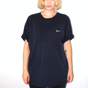 90s Nike tshirt 1990s vintage navy blue cotton athletic tee large