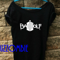 Doctor Who Bad Wolf Rose tyler geek nerd whovian flowy slouchy shirt off the shoulder regular and plus sizes available