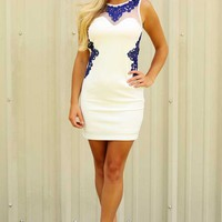 Show Time Dress: White/Blue