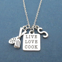 Personalized, Letter, Initial, LIVE LOVE COOK, Cooking, Tongs, Silver, Necklace, Gift, Jewelry