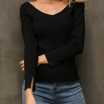 Black V-neck Lace Up Back Long Sleeve Knitted Sweater