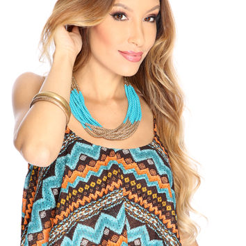Teal Brown Chevron Knitted Crop Top