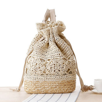Drawstring Lace Crochet Straw Beach Bags Floral Pattern Handmade Straw Bohemia Summer Women Double Shoulder Bucket Bags L59