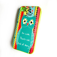 Plastic Neon Green iPhone 4 / 4S Case Im Cute Your Not Owl