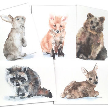 Woodland Animals Watercolor Note Card Set 2 - 5.5x4.25 Small Greeting Cards