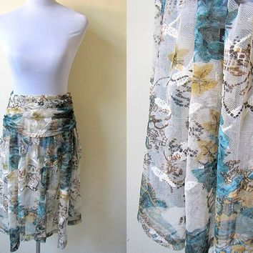 Spring / Summer Sale: sheer botanical printed skirt or cover up (28 inches)