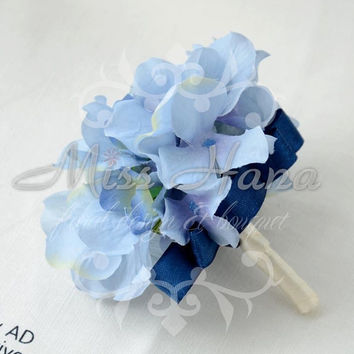 Blue Hydrangea boutonnieres / wrist Corsage Wrapped In Ribbon Silk Flower Arrangement Rustic Chic Romantic bridesmaid