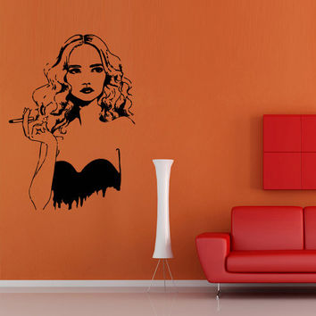 Wall decal decor decals art girl woman fashion cigarette cover beauty salon actress movie (m699)