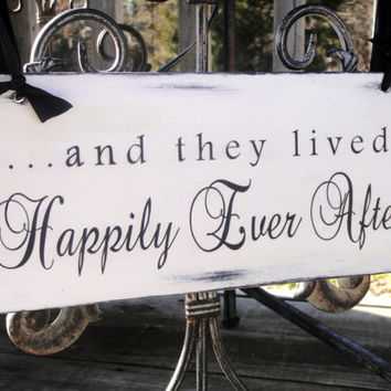 And They Lived Happily Ever After Sign, Wedding Sign and photo props, ring bearer, flower girl Single Sided 5x12