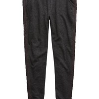 Aerie Women's Cable Knit Skinny Jogger (Charcoal Heather Grey)
