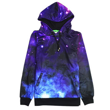 Stars In The Sky All Over Print Space Galaxy Universe Dark Blue & Purple Hoodie