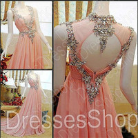 Pink Prom Dresses, Straps Prom Gowns, Long Prom Dresses, Long Evening Dresses, Special Evening Gowns Custom
