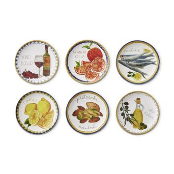 Italian Icon Mixed Appetizer Plates, Set of 6