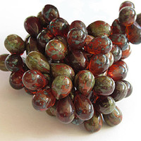 Czech Glass Beads 9mm Dark Amber Orange Green Picasso Drops  25 Pieces  B704