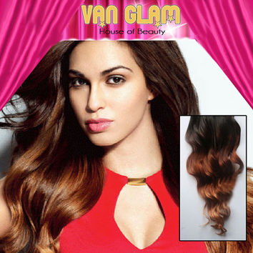 """Clip In Hair Extensions / Balayage Ombre / 22"""" / Cuticle Remy Human Hair"""