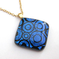 Blue Dichroic Glass Necklace, Fused Glass Necklace - Midnight Ride by mysassyglass