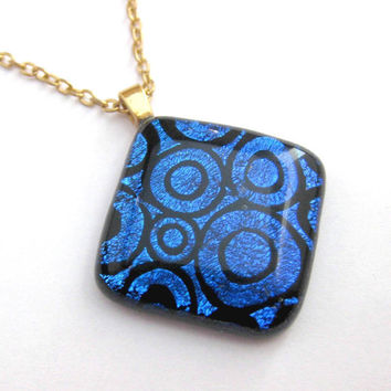 Blue Dichroic Glass Necklace - Midnight Ride by mysassyglass