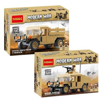 Decool SWAT Military Series M1025 Armored Humvees Hummer Military US Soldiers Carry Gun Toys Building Blocks Compatible Legoe