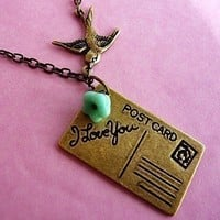Victorian Postcard Air Mail Love Bird Necklace from MaruMaru