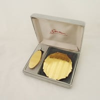 Vintage Stratton Compact Mirror & Lipview Gold Tone Metal in Original Box