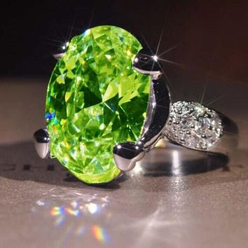 Princess 925 Silver Natural Gemstones Peridot Birthstone Bride Wedding Engagement Strange Ring Size 6 7 8 9 10