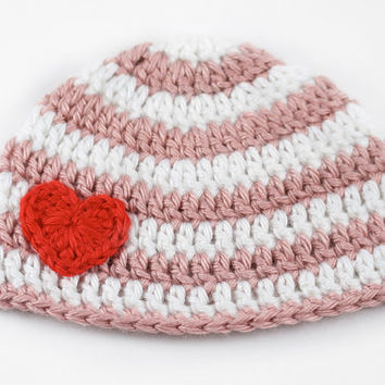 Valentine's Day Baby Hat // White and Pink Stripes // Crochet Newborn Hat with Heart