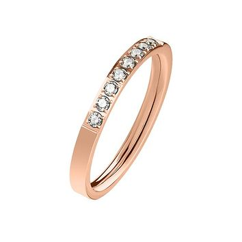 Everlasting Rose Gold - Women's Stainless Steel Rose Gold Ion Plated Ring With Clear CZ Stones